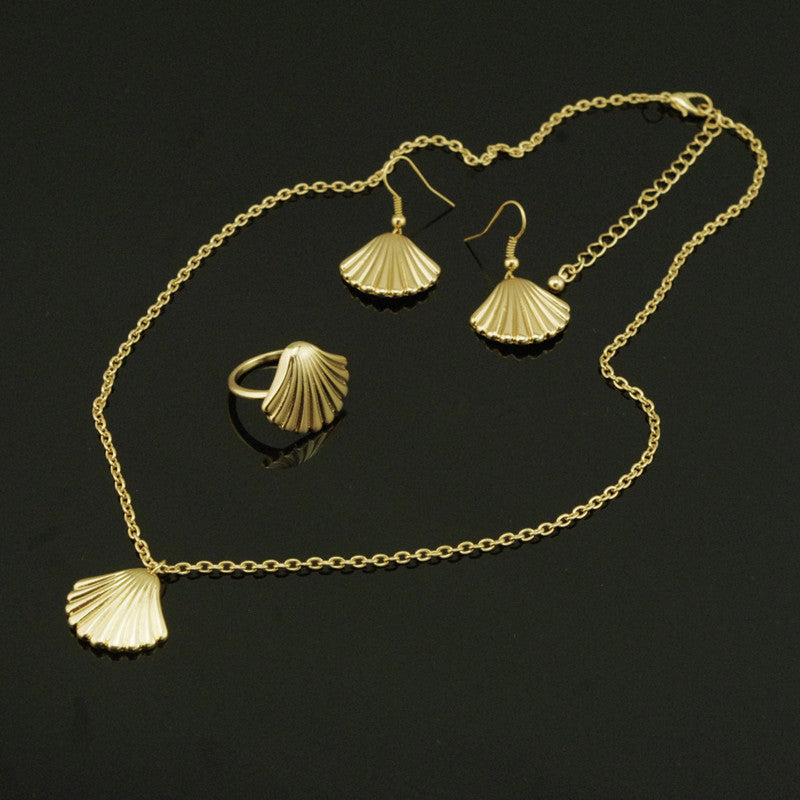 Metal Shell Shape Necklace Ring Earrings