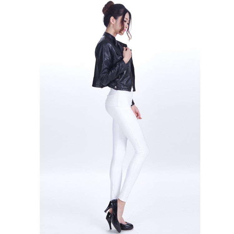 Pure Color Regular Waist PU Slim Leggings