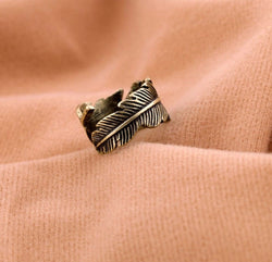 Retro Feather Shape Copper Ring