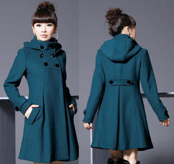 Hooded High Neck Button Slim Long Sleeves Mid-length Coat - May Your Fashion - 2