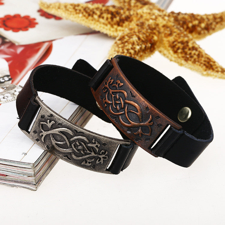 Personality Carving Floral Leather Bracelet