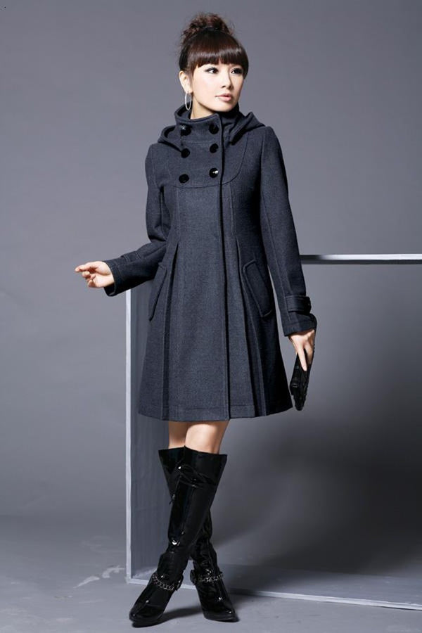 Hooded High Neck Button Slim Long Sleeves Mid-length Coat - May Your Fashion - 1
