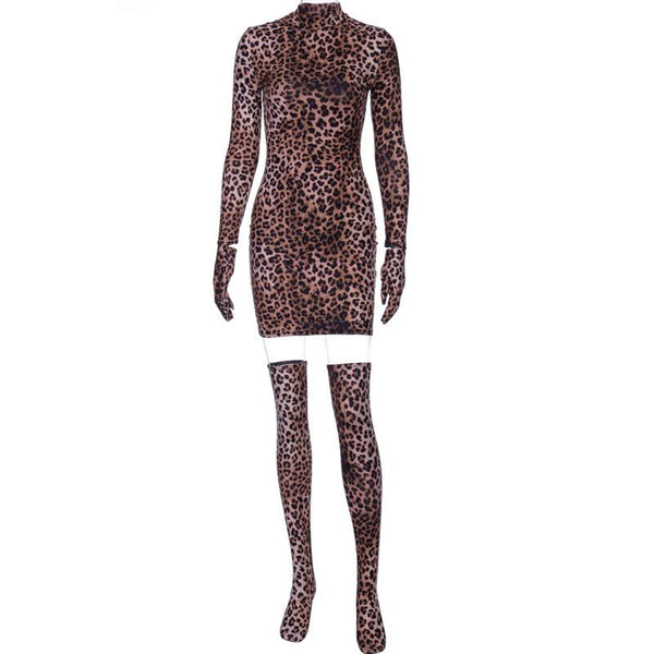 Leopard Cover Finger Bodycon Dress