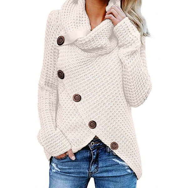 Asymmetric Turtleneck Casual Cozy Women Wrap Sweater