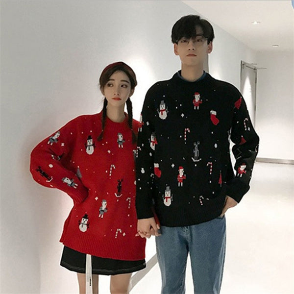Loose Snowman Print Christmas Pullover Sweater