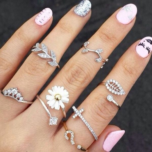 Crystal Leaves Three-Piece Ring Set