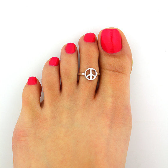 Simple LOVE Peace Symbol Open Foot Ring
