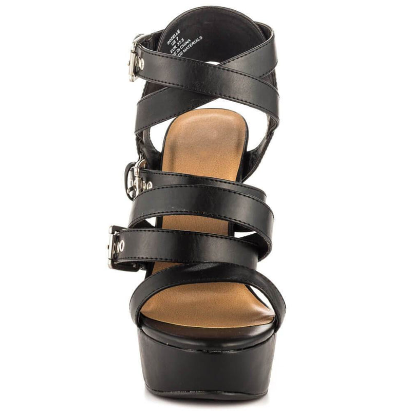 Black Leather Open Toe Buckle Sandals
