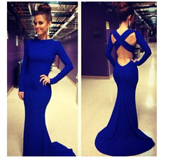 Gorgeous Backless Cross Back Long Mermaid Evening Dress