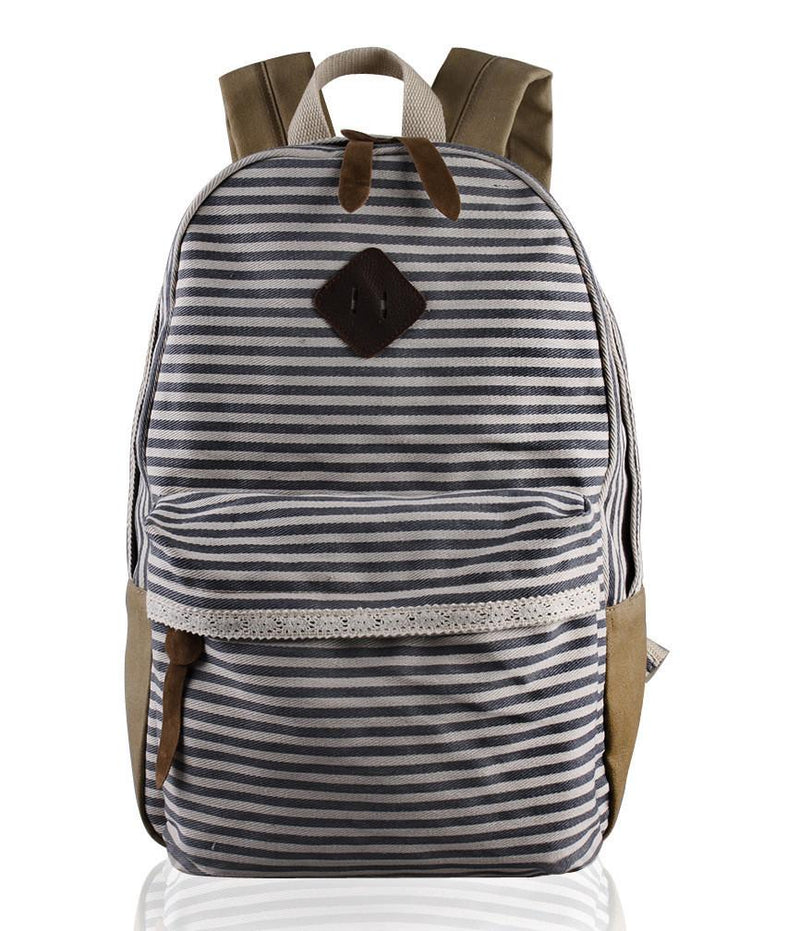 2016 Classical Stripe Lace Canvas Backpack - Meet Yours Fashion - 5