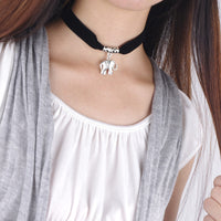 Black Lint Flannelette Style Pendant Necklace