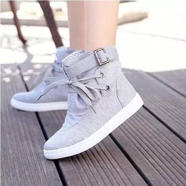 Canvas Flat Lace Up Buckle Knight Boots