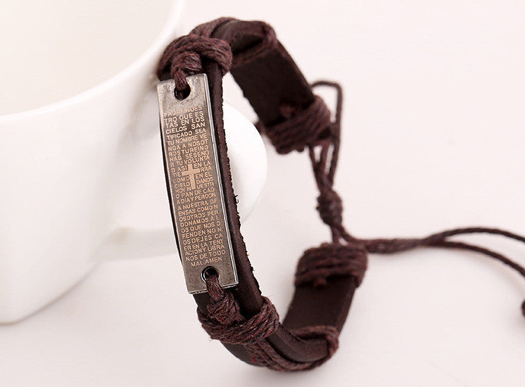 Scriptures Cross Woven Multilayer Bracelet