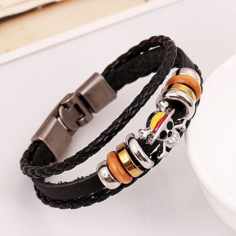 Skull Beaded Multilayer Woven Bracelet
