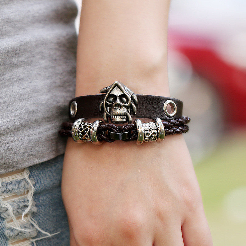 Punk Style Skull Woven Leather Bracelet