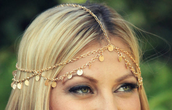 Sequins Waves Tassel Chain Hair Accessories