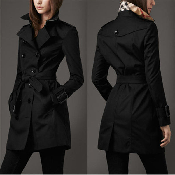 Turn-down Collar Belt Double Button Slim Mid-length Coat - May Your Fashion - 2