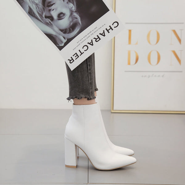Leather White Point Toe Chunky Heel Zipper Calf Boots