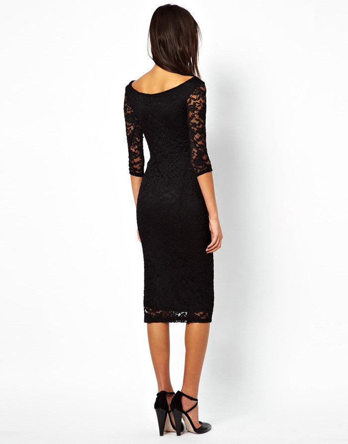 Fashion 3/4 Sleeves Bodycon Long Lace Dress