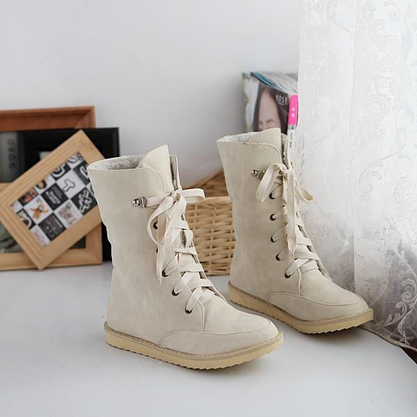 Flat Leisure Thick Lace Up Snow Short Boots