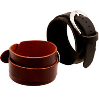 Pure Color Wide Strap Leather Bracelet