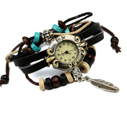 Feather Pendant Woven Bracelet Watch
