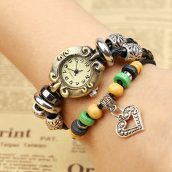 Retro Beaded Leather Bracelet Watch