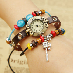 Retro Beads String Leather Bracelet Watch
