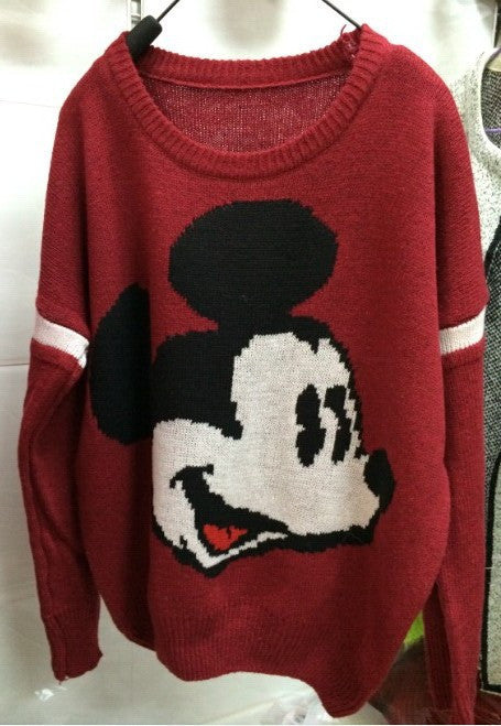 Mickey Print Fashion Scoop Long Sleeve Loose Students Sweater