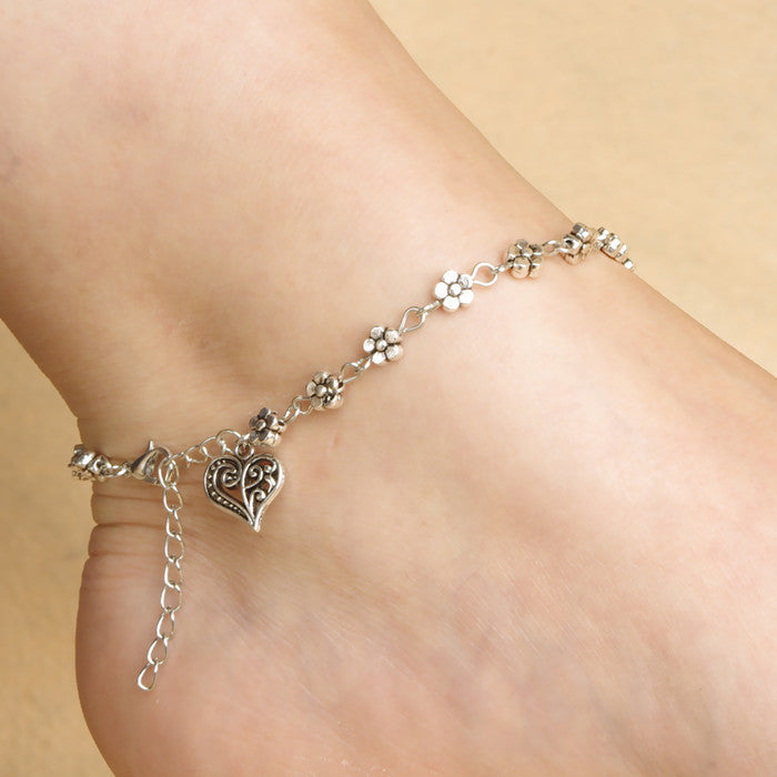 Retro Club Heart Anklet