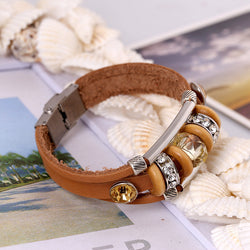 Crystal Beaded Leather Bracelet