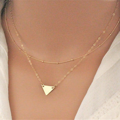 Fashion Simple Triangle Sequins Multilayer Short Necklace
