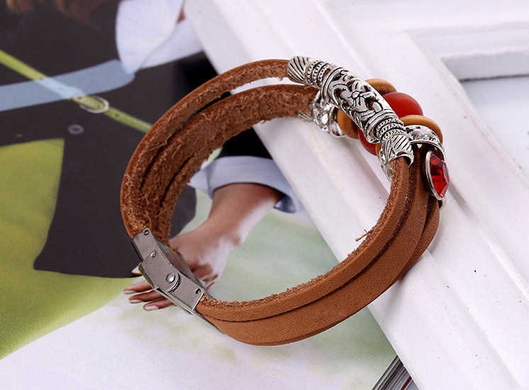 Unique Beaded Multilayer Leather Bracelet