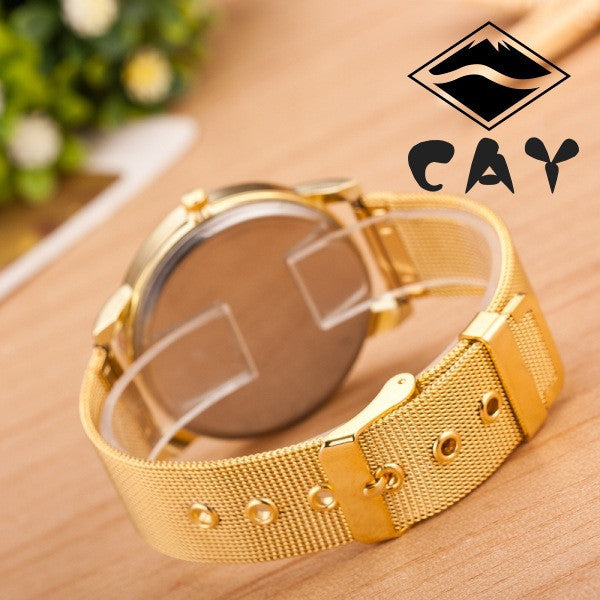 Golden Alloy Strap Personality Watch