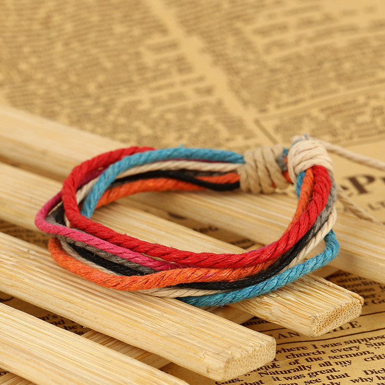 Hemp Wax String Woven Colorful Bracelet