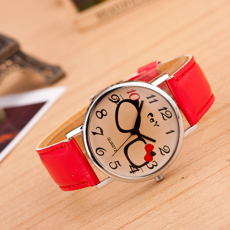 Glasses Bowknot Print Watch