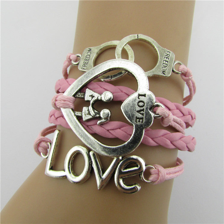 Love Heart Multielement Weaving Handcuffs Bracelet