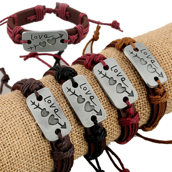 Arrow Through Heart LOVE Leather 4 Bracelet Set
