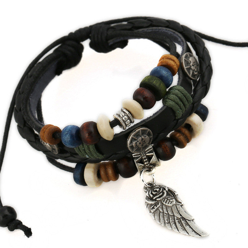 Angel's Wing Beaded Skull Leather Bracelet