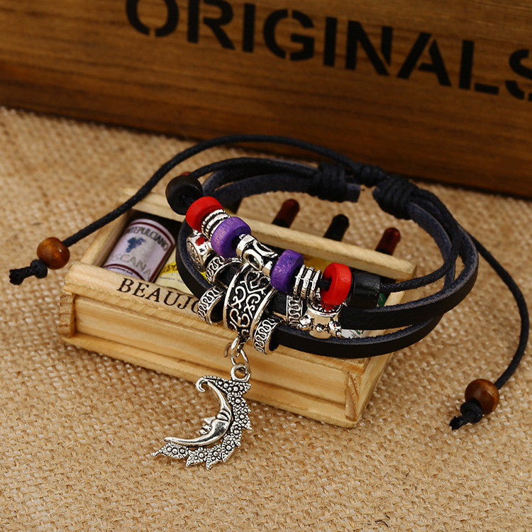 Retro Moon Pendant Alloy Decorate Bracelet