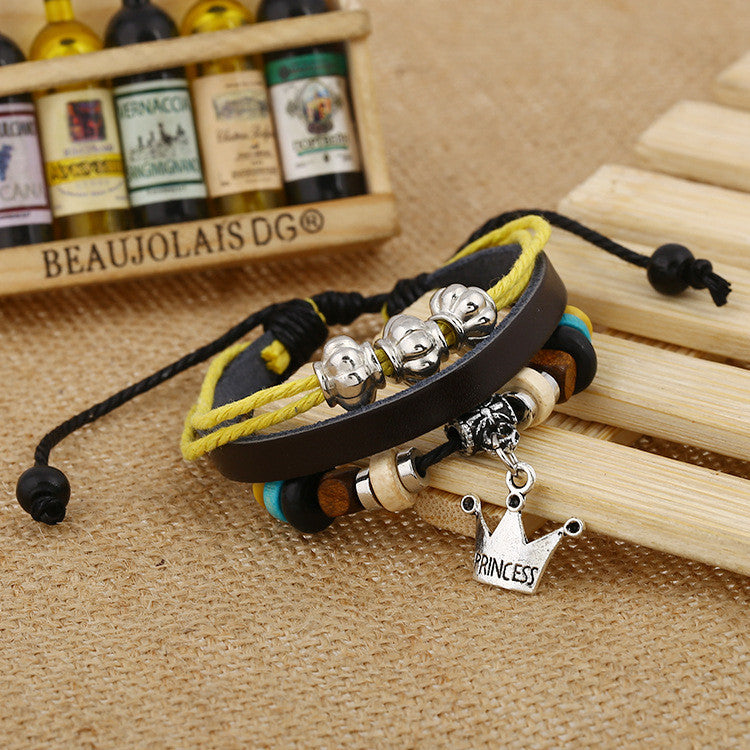 Fashion Temperament Joker Crown Leather Bracelet