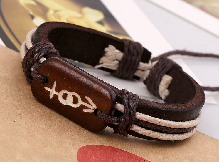 Carving Bone Woven Leather Bracelet