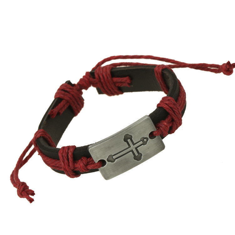 Fashion Hemp Rope Woven Leather Bracelet