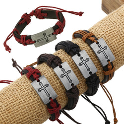 Fashion Hemp Rope Woven Leather Bracelet Set