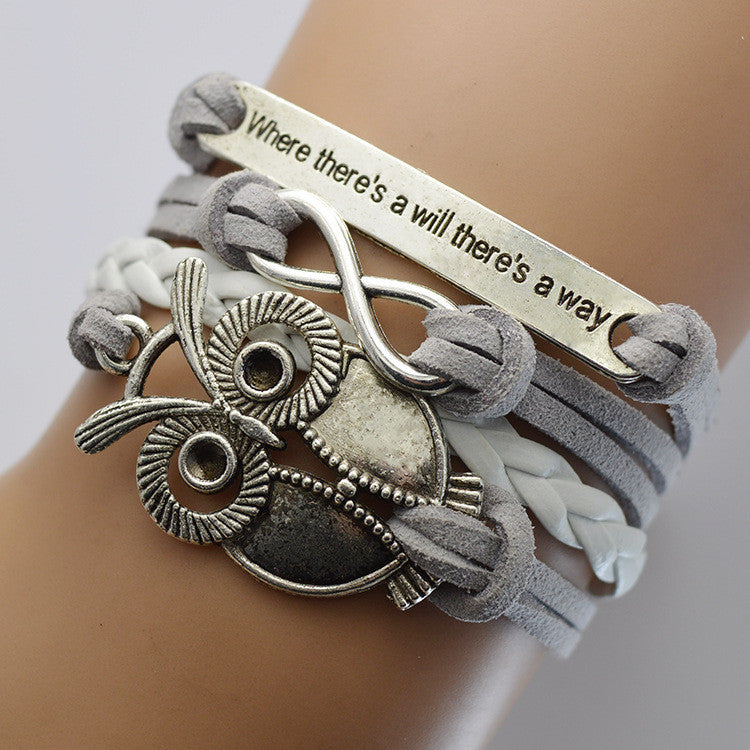 Grey Velvet Rope Weaving Owl Bracelet