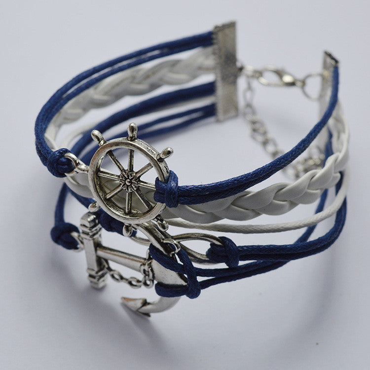 Anchor And Rudder Multilayer Bracelet