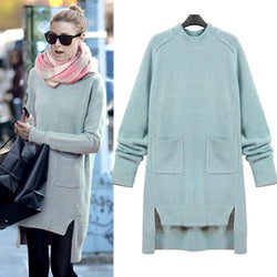 Asymmetric Collar Pure Color Pullover Split Pleat Sweater - May Your Fashion - 1