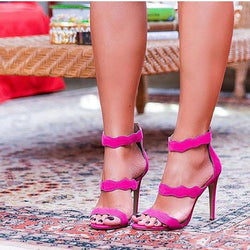 Rose Red Suede Cutout Open Toe High Heel Sandals