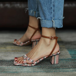Summer Open Toe Stripes Chunky Heel Sandals
