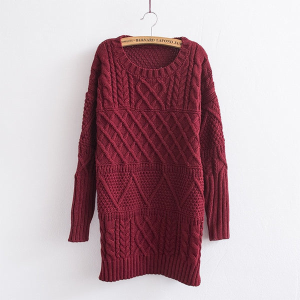 Long Cable Loose Pullover Long Sweater